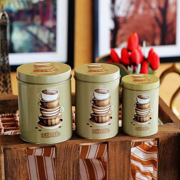 3 Pcs Retro Vintage Green Coffee Cups Kitchen Coffee Tea Sugar Candy Biscuit Container Jar Tin Metal Zakka