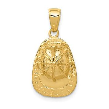 14K Yellow Gold Firefighter Helmet Necklace Charm