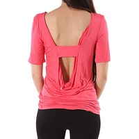 Half Sleeve Solid Wide Open Back Jersey Tunic Tee Shirt Top
