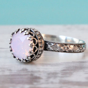 Vintage style Sterling Silver ring with 8 mm Rosewater Opal crystal, floral etched band, crown setting, antique finish, handmade pink ring