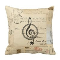 Vintage Music Clef French Postcard Pillow