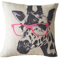 Pink Glasses Giraffe Throw Pillow