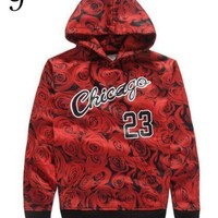 New sportswear design Jordan 23 sweatshirt with bull rose print hoodies men casual jacket color clothes Free shipping