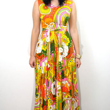 Vintage 60s Psychedelic Print Day Glo Hippie Palazzo Jumpsuit