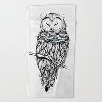 Poetic Snow Owl Beach Towel by LouJah