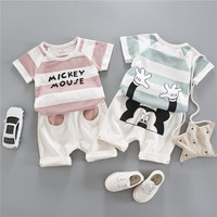 Bonjean cotton mickey mouse short-sleeved baby kids set boy clothes summer girl clothing set children's baby suit minnie mouse