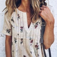 Floral V-Neck Short Sleeve Blouse without Necklace - Fairyseason