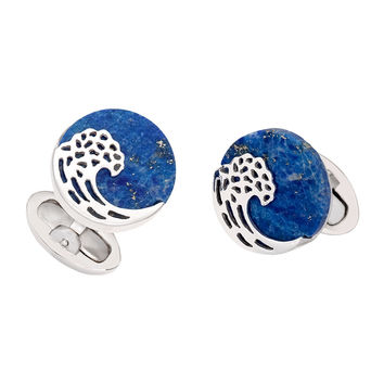 Lapis Wave Cuff Links, Blue - Jan Leslie