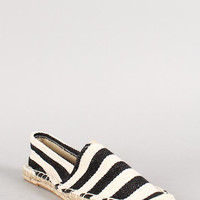 Canvas Stripe Espadrille Skimmer Loafer Flat Color: Black, Size: 6