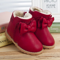 New Design Winter Baby Boys Girls Cowhide Leather Shoes Children's Warm Boots Infant Snow Boot For Baby Age 0-2,Free Shipping 02