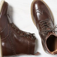 AEO 's Leather Wingtip Boot (Dark Brown)