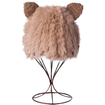 Rabbit Fur Winter Hats For Women With Cat Ears Knit Beanies Warm Caps Fashion Female Skullies Beanies Earflap Cap Cute Girls Hat