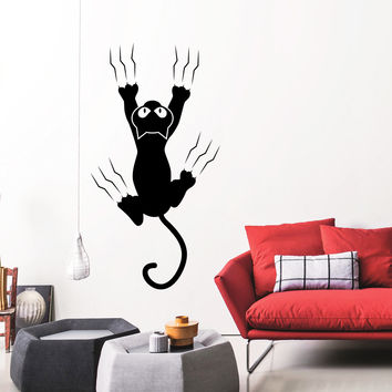 Wall Decal Cat Scratches Pet Silhouette Animals Design Interior Decals Bedroom Nursery Living Room Pets