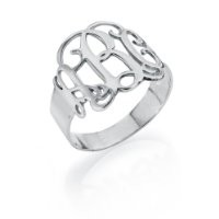 Sterling Silver Monogram Ring, Size 6