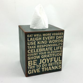 Words to Live By Tissue Box Cover