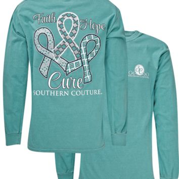 Southern Couture Faith Hope Cure Comfort Colors Seafoam Long Sleeve T-Shirt