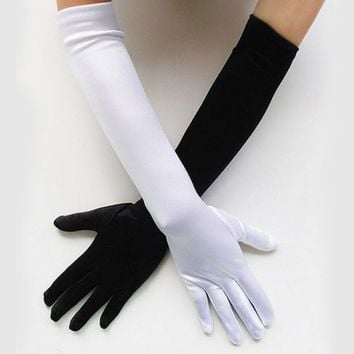 New Women Flapper Gloves Opera/Elbow/Wrist Satin Finger Long Gloves Elbow Sun Protection Gloves Opera Party Prom Gloves