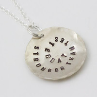 Stronger Than Yesterday - Inspirational Sterling Silver Necklace, Fitness, Motivational Jewelry