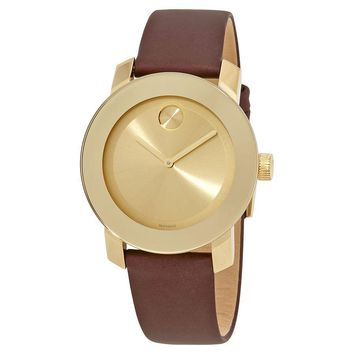 Movado Bold Gold Sunray Dial Ladies Leather Watch 3600456