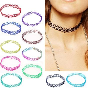 2PCS/lot New Collares Vintage Stretch Tattoo Choker Necklaces For Women Charm Punk Retro Gothic Elastic Pendant Necklace