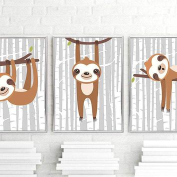 SLOTH Wall Art, Sloth Nursery Decor Sloth Canvas or Print Sloth Baby Boy Nursery Decor, Sloth Playroom Pictures, Set of 3 Sloth Lover Gift