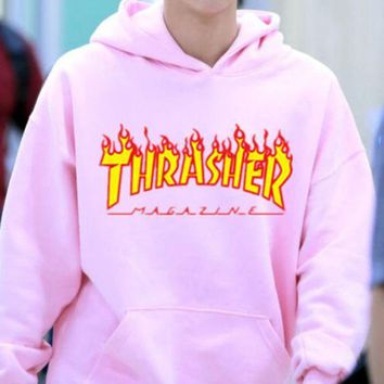 ThrasherNew flame thickening hoodies sweater letters and line Pink