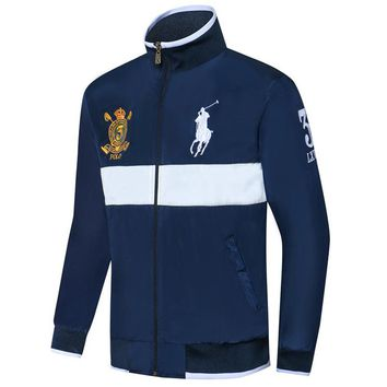 Polo Ralph Lauren 2018 new men's fine embroidered thin windproof cardigan jacket blue
