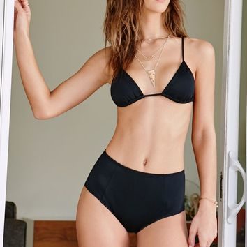 LA Hearts Solid Triangle Bikini Top - Womens Swimwear - Black