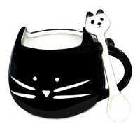 BUYNEED Novelty Lovely Cute Little Black Cat Coffee Tea Milk Ceramic Mug Cup Christmas Birthday Best Gift