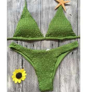 One-nice™ Sexy Pleated Edge pure GREEN two piece low chest halter back knot swimsuit