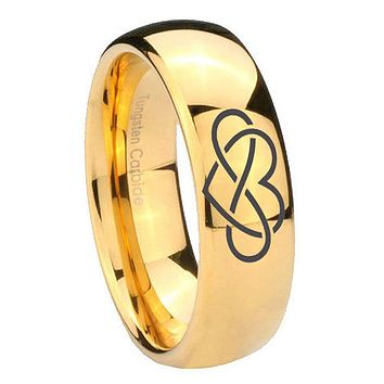 8mm Infinity Love Dome Gold Tungsten Carbide Wedding Band Ring