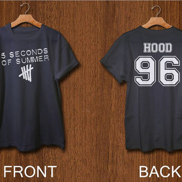 5 seconds of summer shirt 2 side print digital front side and back side calum hood 5 sos tshirt  black white colors clothing