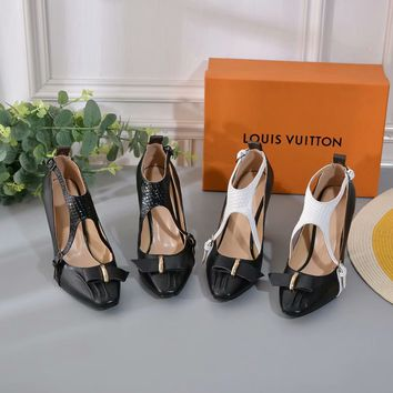 LV Louis Vuitton Fashion Women leather Winter Snow high Heel Shoes Best Quality