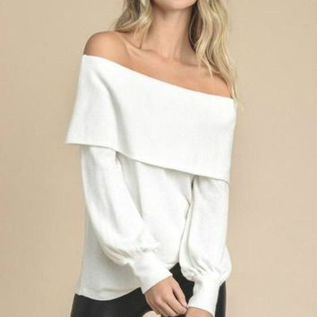 Jules Off Shoulder White Sweater