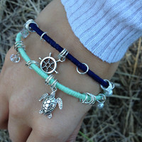 Silver Nautical Captain Wheel and Sea Turtle by ShopNauticalKnots