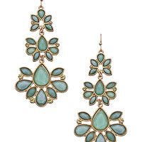 Blu Bijoux Mint Floral Triple Drop Earrings - Max & Chloe