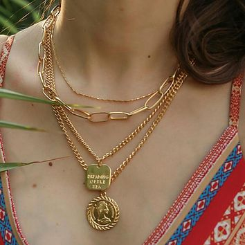 Gold Letter Carving Buddha Pendant Necklace