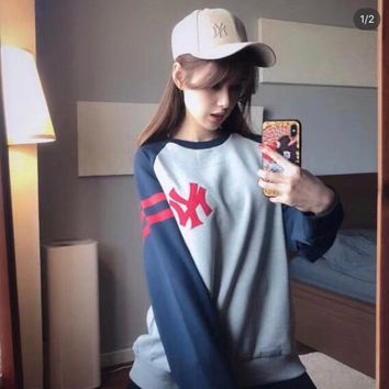 HCXX 19Aug 295 NY MLB Letter Patch Embroidery Contrast Color Round Neck Sweater