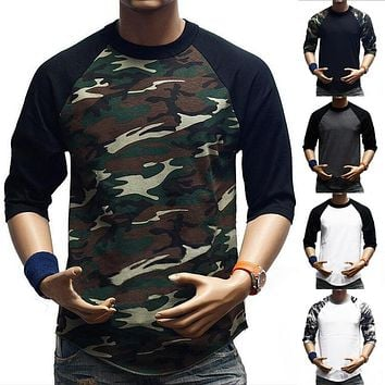 New Men's 3/4 Sleeve Camouflage Baseball T-Shirt Raglan Plain Camo Tee Men's Casual T Shirt S-3XL