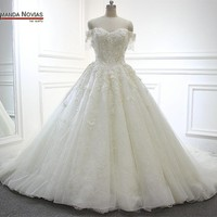 Full Beading Flowers Wedding Dress Long