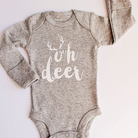 Boy Christmas Outfit..Oh Deer..Newborn Christmas Onesuit..Newborn personalized Outfit..Baby Shower Gift..Newborn Gift..Baby Boy Outfit.