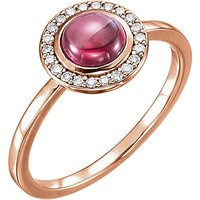 14k Gold Rhodolite Garnet & 1/8 CTW Diamond Halo Ring - Rose, Yellow or White