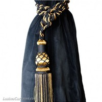 Black and Gold Curtain Tie Backs