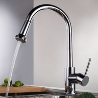 Shipping Polished Deck Mounted Pull Out Faucet Chrome Water Power Kitchen Sink Mixer Tap Single Handle Ch-8103