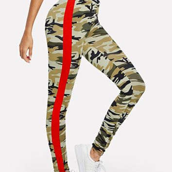 Side Striped Camouflage Print Leggings