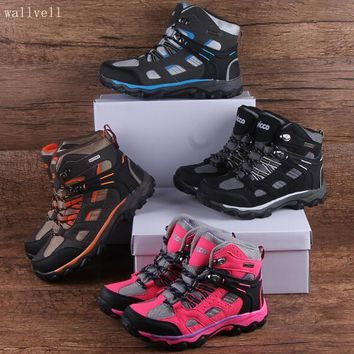 wallvell Exported to Turkey leather toe waterproof children hiking shoes boys girls snow boots shock absorption anti-skid