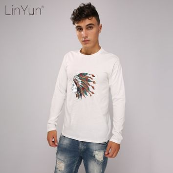 LINYUN Hipster 3D Printed Men's T Shirts Indian Casual Cotton Male T-shirts Long Sleeve Homme Animaux Top Tee Streetwear