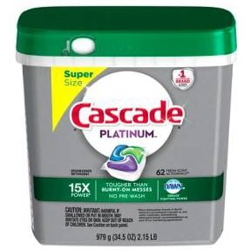 Cascade® Platinum™ ActionPacs™ Dishwasher Detergent, Fresh Scent, 62ct