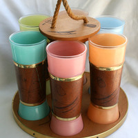 Vintage Hawaiiana/tiki glass tumblers with wooden by TheAtomicMama