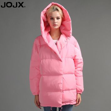 JOJX Cocoon type loose Women down jacket Fashion Hooded Jacket Cute Coat 2017 New Winter Collection Casual Winter Down Coat